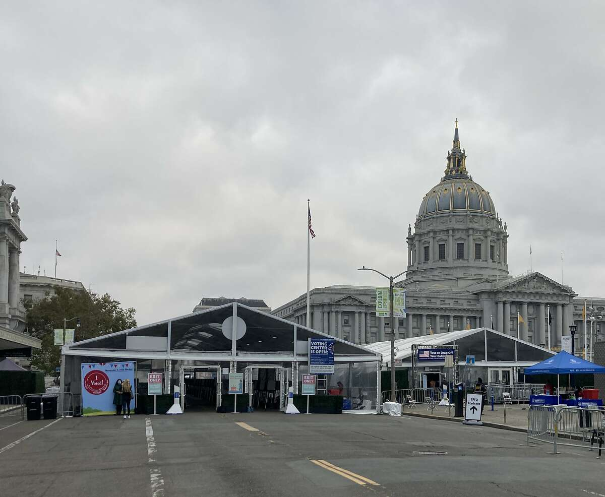 San Francisco's Department of Elections in October, 2020 erected a pair of tents in Civic Center Plaza for early voters because of coronavirus-related safety concerns. The tents hold 200 voting booths -- 50 more than what usually is provided (in closer quarters) in the regular location, City Hall's ground floor.