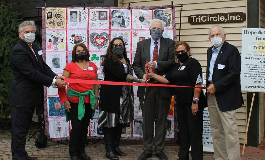TriCircle, Inc. held a grand opening on Oct. 6, 2020. The following were in attendance: Durham/Middlefield Division Chairman Jan Wojas, Founder of the TheCharityChallenge.net Ceci Iliff, Founder & CEO of TriCircle Inc. Ana Gopoian, First Selectman of Middlefield Ed Bailey, Vice Chairwoman of TriCircle Inc. Christine Gagnon, and Middlesex Chamber President Larry McHugh. Photo: Contributed