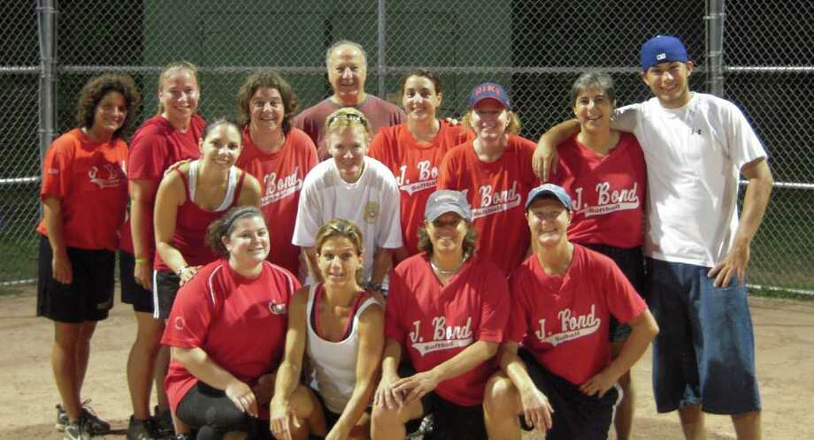 JBond won its second town womens softball title in three years earlier this month, defeating Zody's 19th Hole 12-3. JBond is, front row, left to right: Michelle Santora, Lisa Weiss, Janet Caswell, Ginny Allis. Back row:  Mary Beth Fratello, Amanda Novak, Laura Schacter, Christie Grudzinski, Coach Charlie Weiss, Liz Linde, Nancy Tarantino, Shannon Bassalik, Sally Rogol and John Novak. Photo: Contributed Photo / Greenwich Time Contributed
