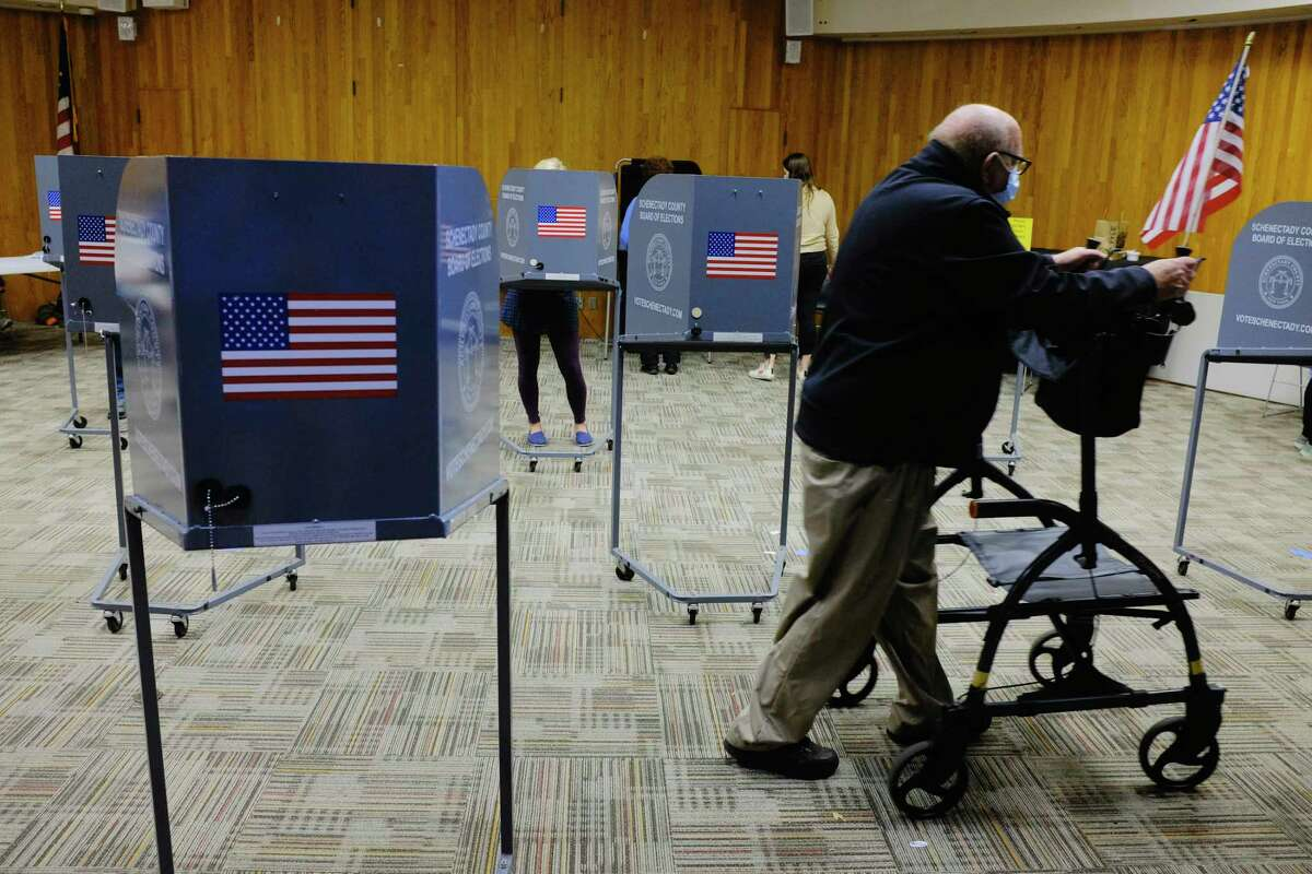 Voters cast their ballots during early voting at the Schenectady Public Library on Sunday, Oct. 25, 2020, in Schenectady, N.Y. (Paul Buckowski/Times Union)