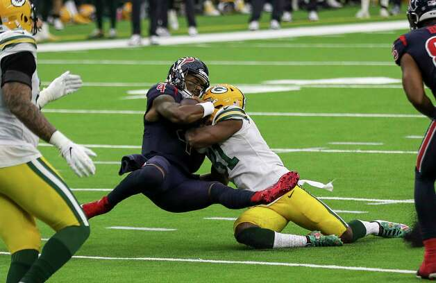 Houston Texans quarterback Deshaun Watson (4) is sacked by Green Bay Packers strong safety Adrian Amos (31) during the fourth quarter of an NFL game Sunday, Oct. 25, 2020, at NRG Stadium in Houston. Photo: Jon Shapley, Staff Photographer / © 2020 Houston Chronicle