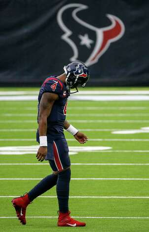 Houston Texans quarterback Deshaun Watson (4) leaves the field after a fumble by running back David Johnson (31) late during the fourth quarter of an NFL game Sunday, Oct. 25, 2020, at NRG Stadium in Houston. Photo: Jon Shapley, Staff Photographer / © 2020 Houston Chronicle