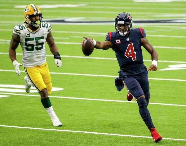 Houston Texans quarterback Deshaun Watson (4) rushes during the fourth quarter of an NFL game Sunday, Oct. 25, 2020, at NRG Stadium in Houston. Photo: Jon Shapley, Staff Photographer / © 2020 Houston Chronicle