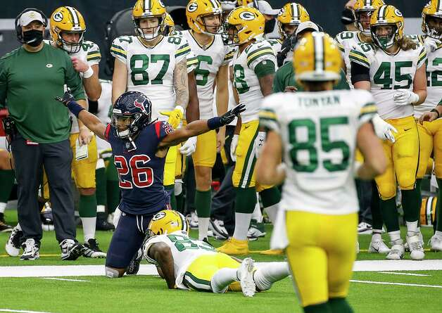 Houston Texans cornerback Vernon Hargreaves III (26) celebrates after an incomplete pass to Green Bay Packers wide receiver Malik Taylor (86) during the fourth quarter of an NFL game Sunday, Oct. 25, 2020, at NRG Stadium in Houston. Photo: Jon Shapley, Staff Photographer / © 2020 Houston Chronicle