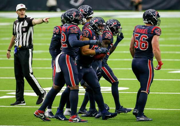 Houston Texans linebacker Dylan Cole (51) celebrates with teammates after recovering a blocked punt during the fourth quarter of an NFL game Sunday, Oct. 25, 2020, at NRG Stadium in Houston. Photo: Jon Shapley, Staff Photographer / © 2020 Houston Chronicle