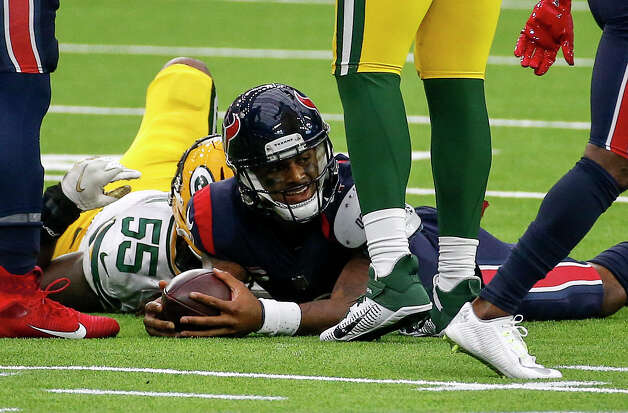 Houston Texans quarterback Deshaun Watson (4) lays on the field after being tackled during the fourth quarter of an NFL game Sunday, Oct. 25, 2020, at NRG Stadium in Houston. Photo: Jon Shapley, Staff Photographer / © 2020 Houston Chronicle