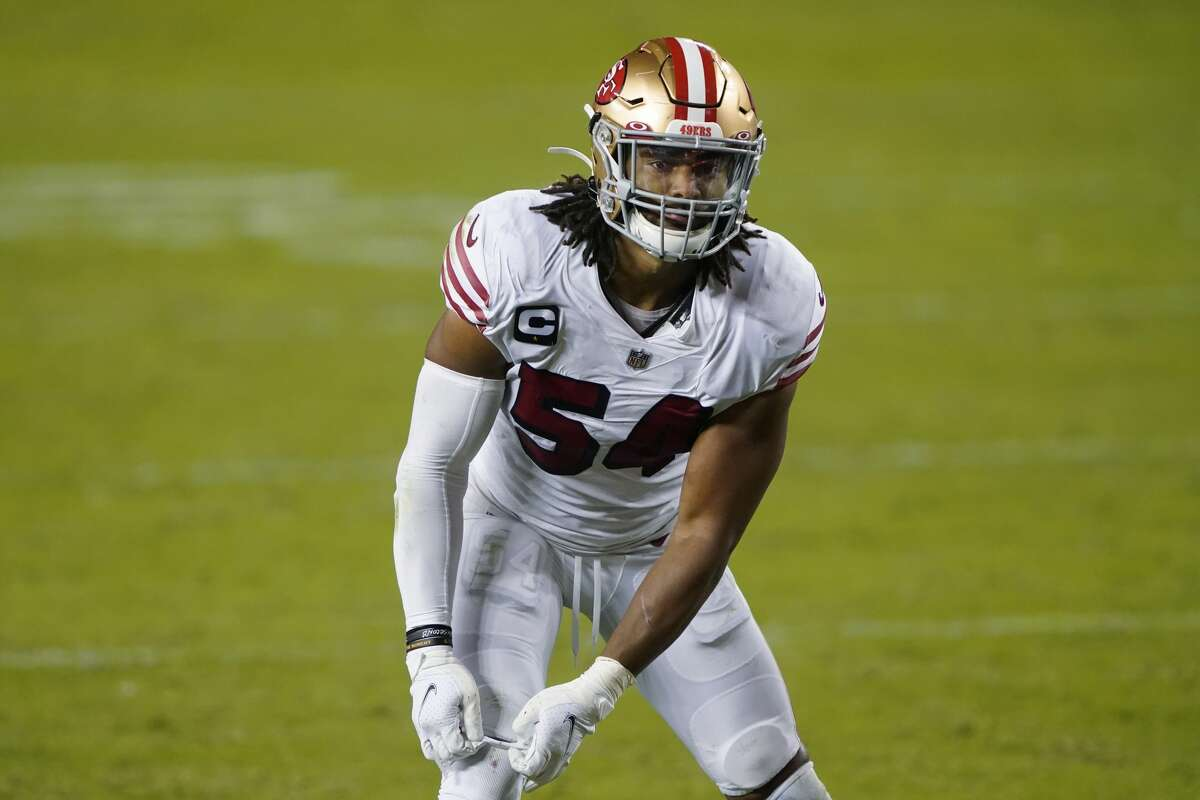 San Francisco 49ers middle linebacker Fred Warner (54) against the Los Angeles Rams during an NFL football game in Santa Clara, Calif., Sunday, Oct. 18, 2020. (AP Photo/Tony Avelar)