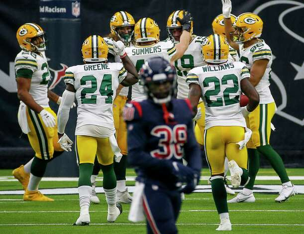 Green Bay Packers players celebrate after wide receiver Equanimeous St. Brown (19) brought the ball down on the 2-yard line after a punt during the second quarter of an NFL game Sunday, Oct. 25, 2020, at NRG Stadium in Houston. Photo: Jon Shapley, Staff Photographer / © 2020 Houston Chronicle