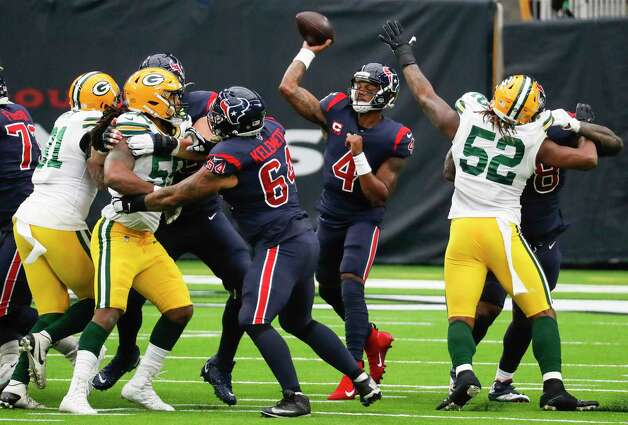 Houston Texans quarterback Deshaun Watson (4) throws a pass against the Green Bay Packers during the first half of an NFL football game at NRG Stadium on Sunday, Oct. 25, 2020, in Houston. Photo: Brett Coomer, Staff Photographer / © 2020 Houston Chronicle