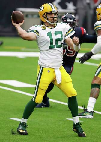 Green Bay Packers quarterback Aaron Rodgers (12) throws a pass against the Houston Texans during the first half of an NFL football game at NRG Stadium on Sunday, Oct. 25, 2020, in Houston. Photo: Brett Coomer, Staff Photographer / © 2020 Houston Chronicle