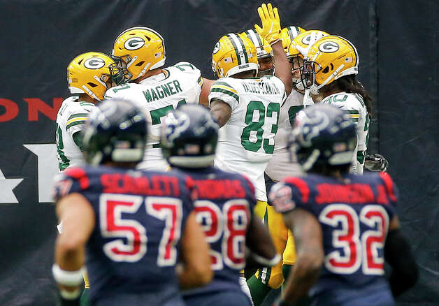 Green Bay Packers celebrate after a touchdown during the second quarter of an NFL game Sunday, Oct. 25, 2020, at NRG Stadium in Houston. Photo: Jon Shapley, Staff Photographer / © 2020 Houston Chronicle