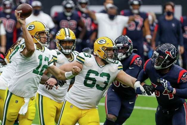 Green Bay Packers quarterback Aaron Rodgers (12) throws a pass against the Houston Texans during the second half an NFL football game at NRG Stadium on Sunday, Oct. 25, 2020, in Houston. Photo: Brett Coomer, Staff Photographer / © 2020 Houston Chronicle