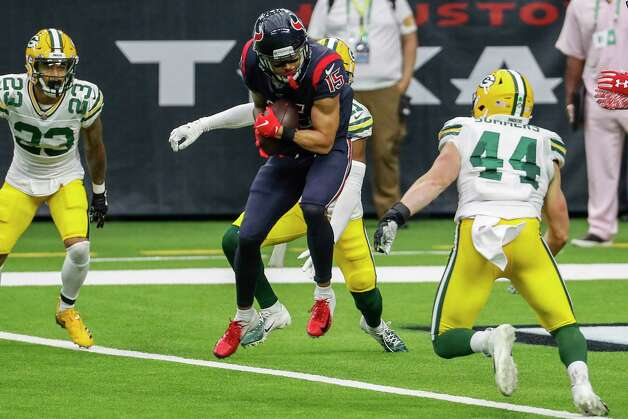 Houston Texans wide receiver Will Fuller (15) leaps to make a 6-yard touchdown reception against the Green Bay Packers during the second half an NFL football game at NRG Stadium on Sunday, Oct. 25, 2020, in Houston. Photo: Brett Coomer, Staff Photographer / © 2020 Houston Chronicle