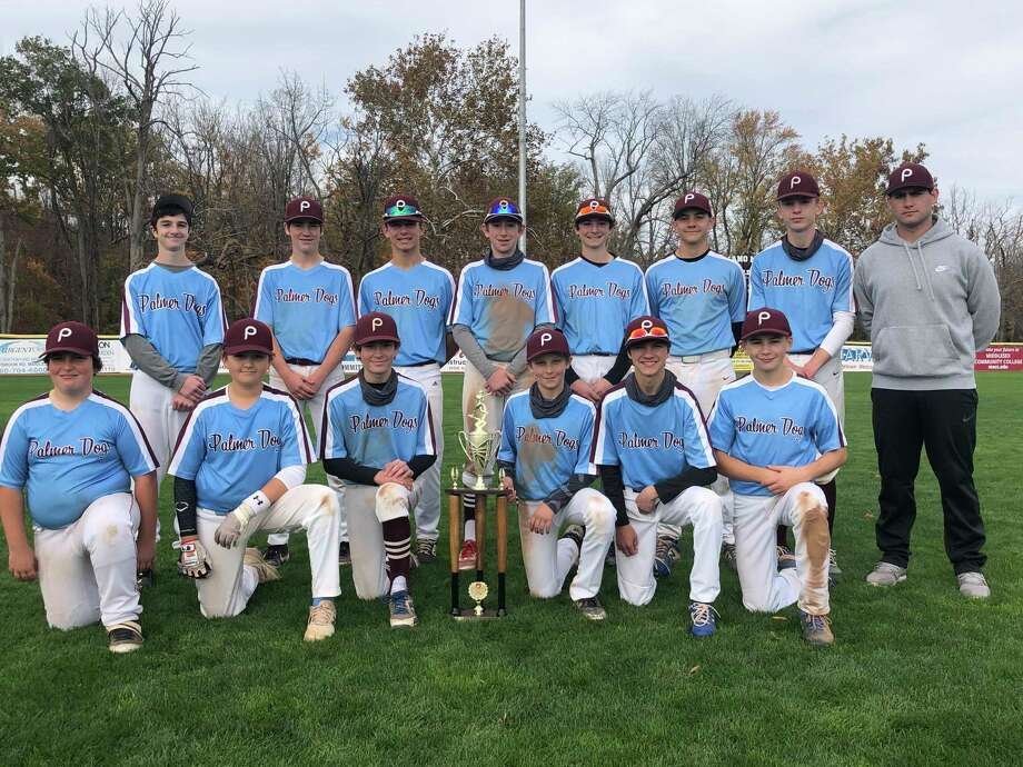 The 15U Palmer Dogs won the CTEBA fall championship on Sunday at Palmer Field. Pictured, back row from left: Ian Weissberg, Joey Salafia, Jimmy Schafer, Matt Devany, Luke Weisenberg, Corey Turcotte, Cam Lombardi and coach Nick Brenchak. Front, from left: Jackson Kleczkowski, Carter Ness, AJ Quinn, Cael Loria, Chad Burlette and John Lagana. Photo: Paul Augeri / For Hearst Connecticut Media