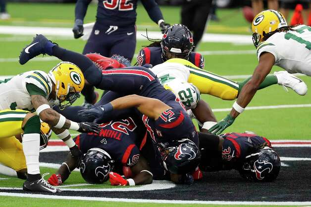 The Houston Texans and the Green Bay Packers go after an onside kick during the second half an NFL football game at NRG Stadium on Sunday, Oct. 25, 2020, in Houston. The Texans recovered the kick. Photo: Brett Coomer, Staff Photographer / © 2020 Houston Chronicle