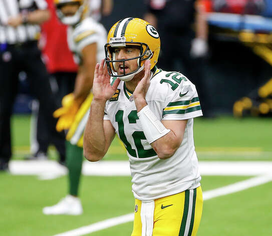 Green Bay Packers quarterback Aaron Rodgers (12) yells during the first quarter of an NFL game Sunday, Oct. 25, 2020, at NRG Stadium in Houston. Photo: Jon Shapley, Staff Photographer / © 2020 Houston Chronicle