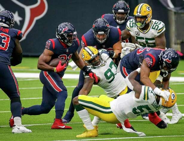 Houston Texans running back David Johnson (31) rushes during the first quarter of an NFL game Sunday, Oct. 25, 2020, at NRG Stadium in Houston. Photo: Jon Shapley, Staff Photographer / © 2020 Houston Chronicle