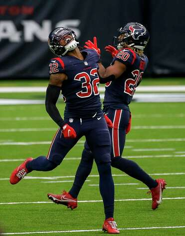 Houston Texans cornerback Lonnie Johnson (32) reacts after missing an interception during the third quarter of an NFL game Sunday, Oct. 25, 2020, at NRG Stadium in Houston. Photo: Jon Shapley, Staff Photographer / © 2020 Houston Chronicle