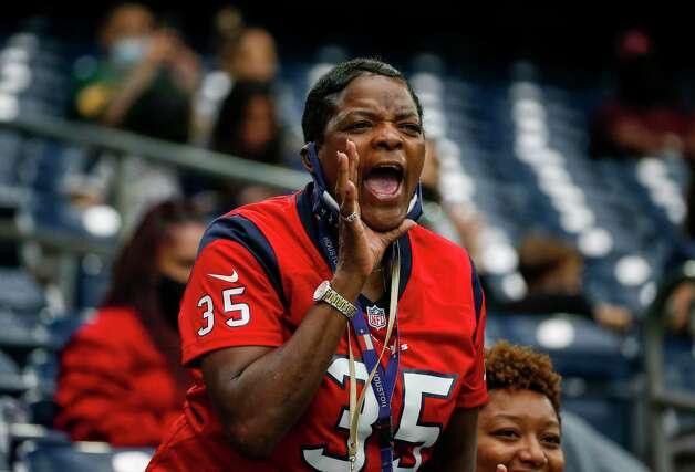 A Houston Texans fan yells during the third quarter of an NFL game Sunday, Oct. 25, 2020, at NRG Stadium in Houston. Photo: Jon Shapley, Staff Photographer / © 2020 Houston Chronicle