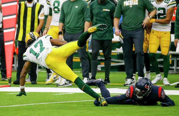 Houston Texans cornerback Phillip Gaines (29) brings down Green Bay Packers wide receiver Davante Adams (17) during the third quarter of an NFL game Sunday, Oct. 25, 2020, at NRG Stadium in Houston. Photo: Jon Shapley, Staff Photographer / © 2020 Houston Chronicle