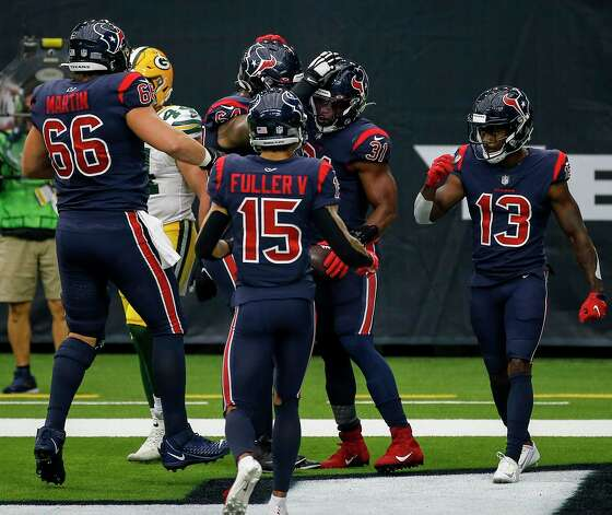 Houston Texans running back David Johnson (31) celebrates with teammates after catching a touchdown pass during the third quarter of an NFL game Sunday, Oct. 25, 2020, at NRG Stadium in Houston. Photo: Jon Shapley, Staff Photographer / © 2020 Houston Chronicle