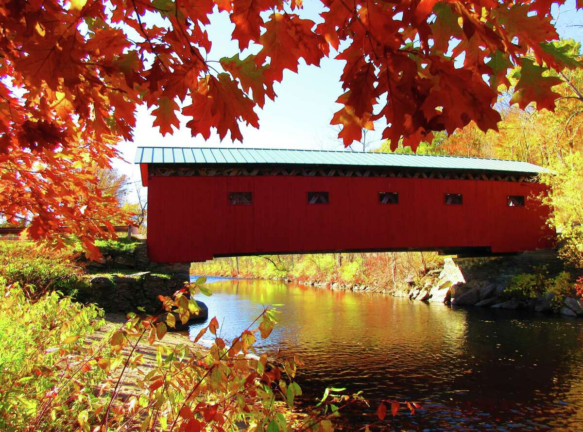 This is the best time of year to take photos of covered bridges! This is the West Arlington Covered Bridge - one of the oldest and most beloved bridges in Vermont. Built in 1852 with a lattice truss design, it spans 80 feet over the Battenkill River.Photo taken by Merry Lee Kraft