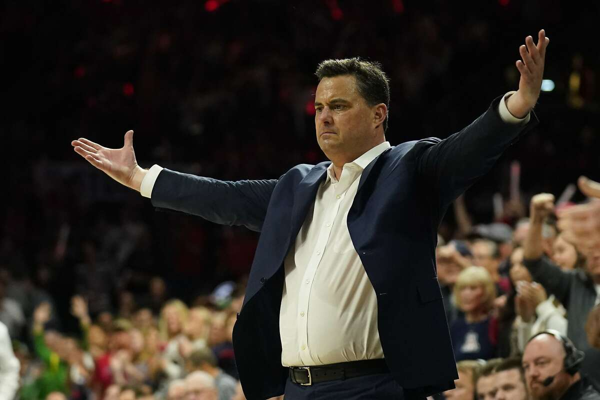 FILE - In this Feb. 22, 2020, file photo, Arizona head coach Sean Miller gestures in the first half of an NCAA college basketball game against Oregon in Tucson, Ariz. Arizona has received a formal notice of allegations from the NCAA stemming from a federal investigation into shady recruiting practices three years ago. The university acknowledged in a statement Friday, Oct. 23, 2020, it had received the notice.