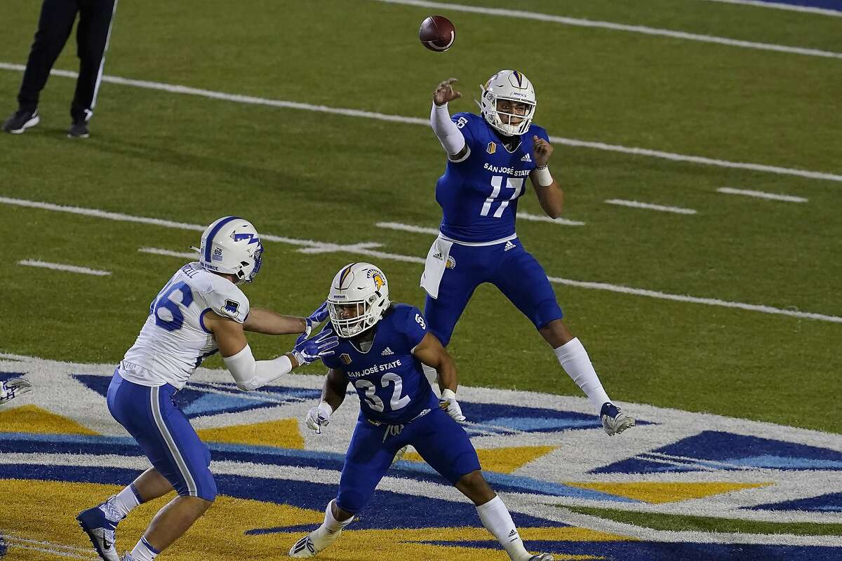 San Jose State quarterback Nick Starkel (17) passes against Air Force during the first half of an NCAA college football game in San Jose, Calif., Saturday, Oct. 24, 2020. (AP Photo/Jeff Chiu)