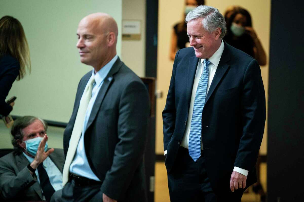 Vice President Mike Pence's Chief of Staff Marc Short, left, and White House Chief of Staff Mark Meadows arrive at a White House event in July 2020.