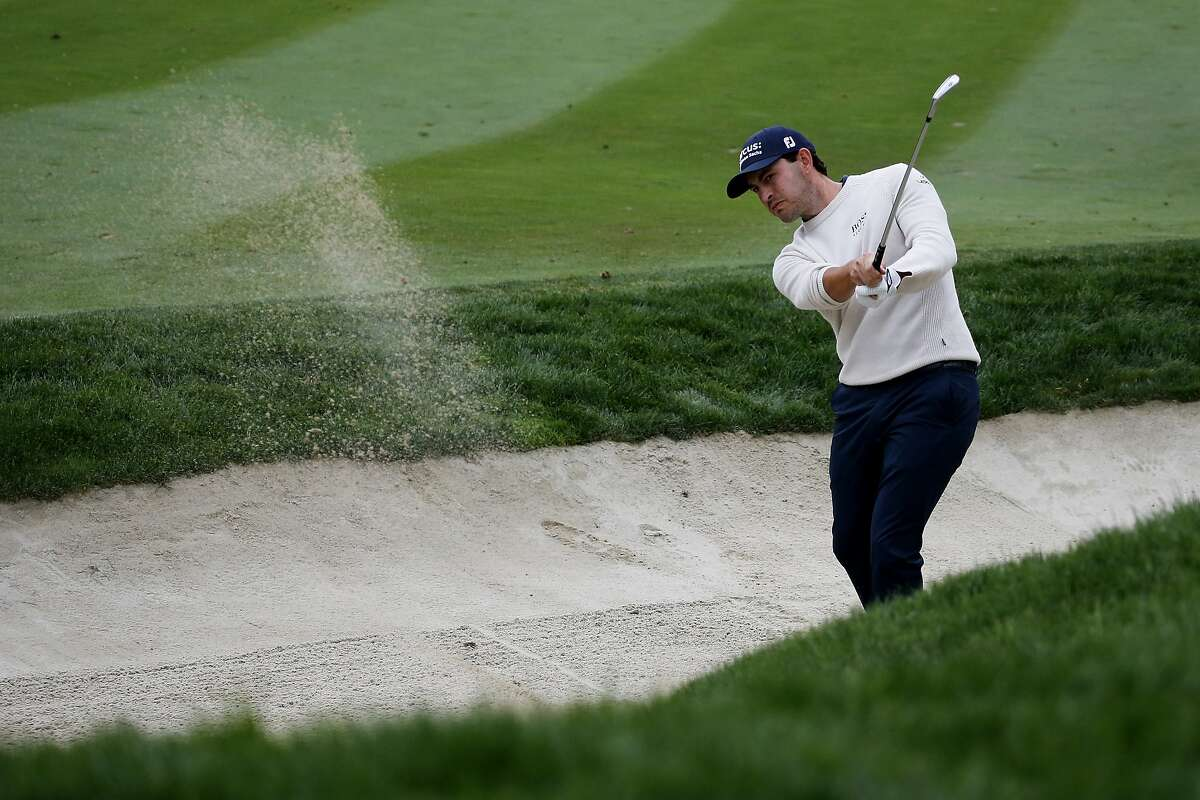 Patrick Cantlay hits from a bunker to the 16th green during the final round of the Zozo Championship golf tournament Sunday, Oct. 25, 2020, in Thousand Oaks, Calif. (AP Photo/Ringo H.W. Chiu)