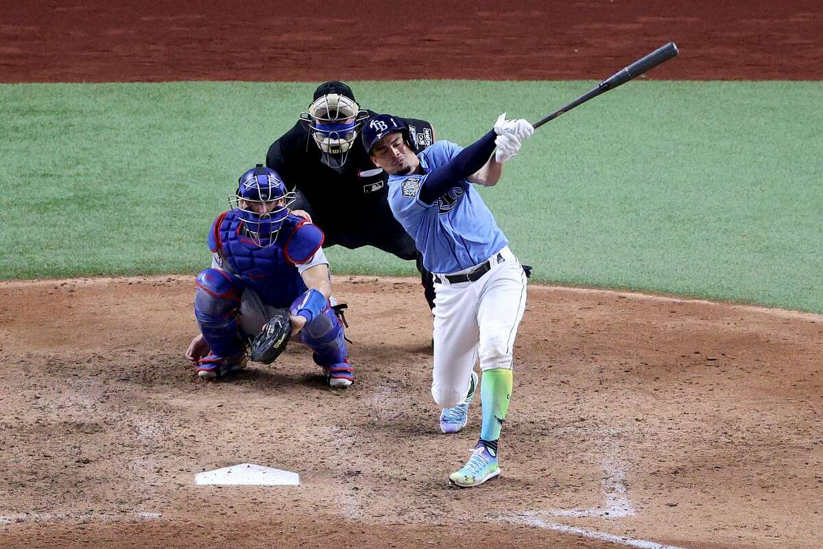 Willy Adames #1 of the Tampa Bay Rays strikes out to end the game and give the Los Angeles Dodgers the 4-2 victory in Game Five of the 2020 MLB World Series at Globe Life Field on October 25, 2020 in Arlington, Texas.