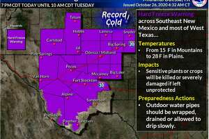 A hard freeze warning is in effect for nearly every area in our CWA beginning 7 PM tonight through 10 AM CDT on Tuesday. Outdoor exposed pipes will likely freeze and unprotected plants and crops will likely die.