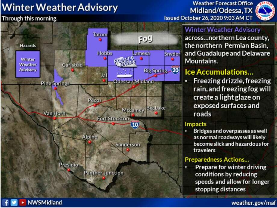 A winter weather advisory is in effect for much of the Permian Basin and northern Lea county, as well as the Guadalupe and Delaware Mountains. Freezing drizzle, freezing fog, and freezing rain will accumulate a light glaze on the roadways. Photo: Midland National Weather Service