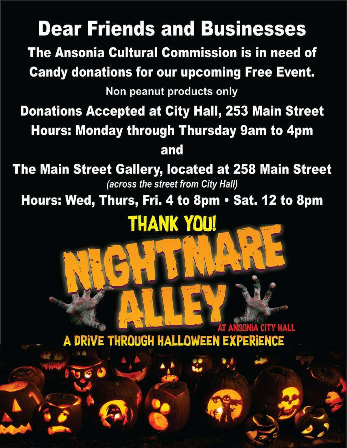 Ansonia will be holding a Nightmare Alley drive-thru Halloween event.
