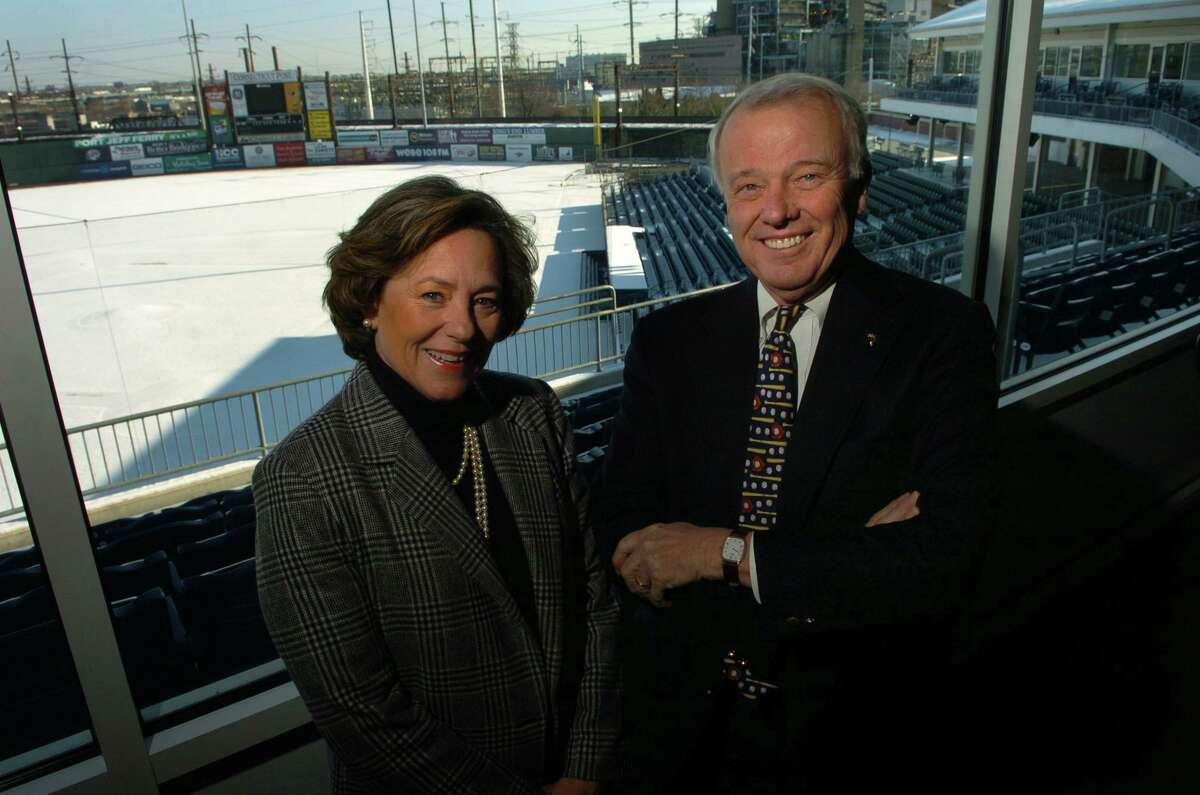 Jack McGregor and his then-wife, Mary-Jane Foster, owners of the Bridgeport Bluefish, at Harbor Yard in Bridgeport in 2005.