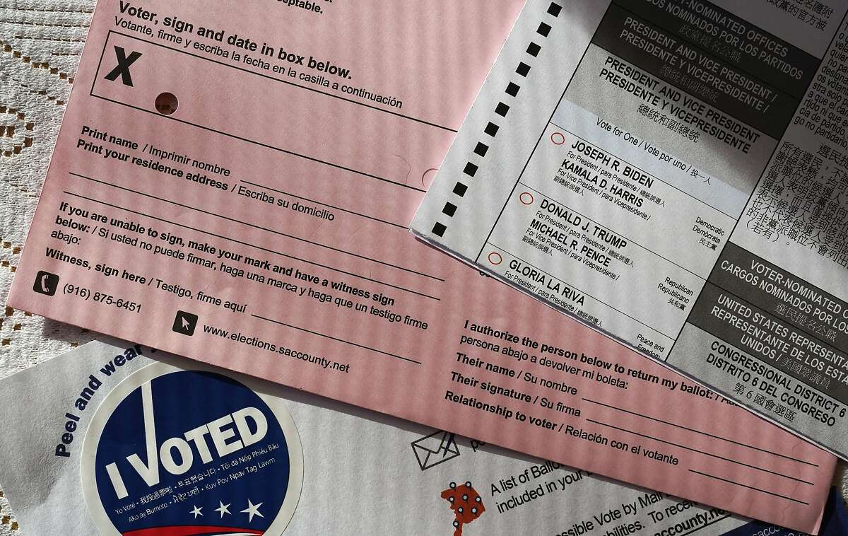 A California ballot is seen on Oct. 15. For the first time, all of California's more than 21 million active registered voters received a ballot in the mail.