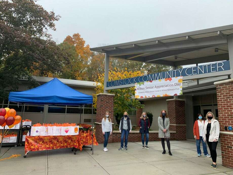 Volunteers at the Comstock Community Center in Wilton held a drive-thru Senior Appreciation Day, providing lunch and goody bags to Wilton senior citizens. Photo: Contributed Photo