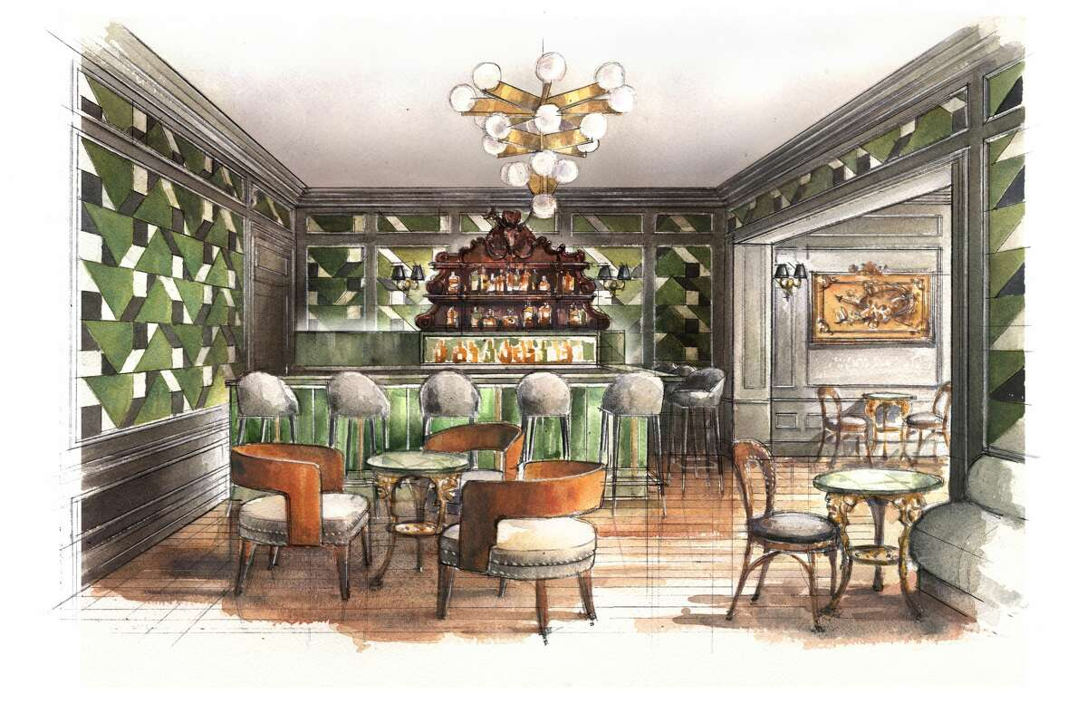 A sketch of the new bar, The Bar at La Colombe d'Or.