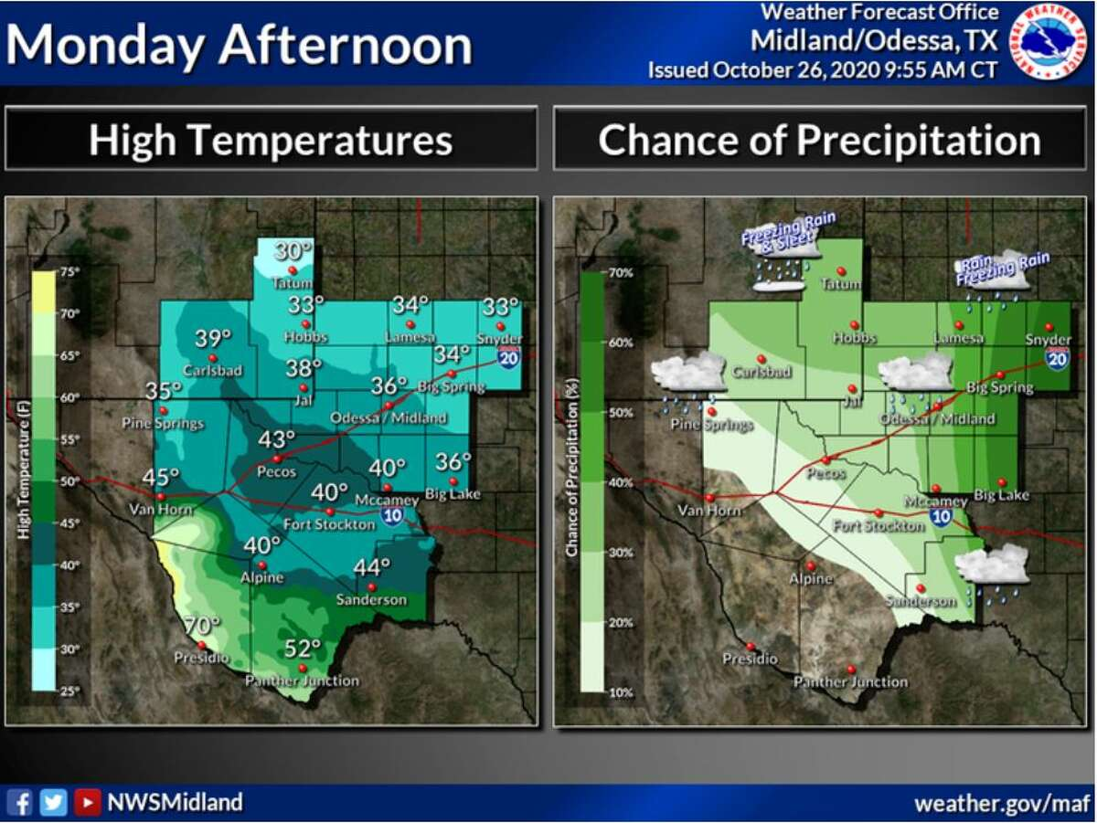 Most areas will remain above freezing this afternoon with the exception of far northern Lea county. Precipitation today will be mostly rain, although some spots in the far north may see a rain/freezing rain mix. This evening, temperatures will drop back below freezing and many places will see a transition to more wintry precipitation.