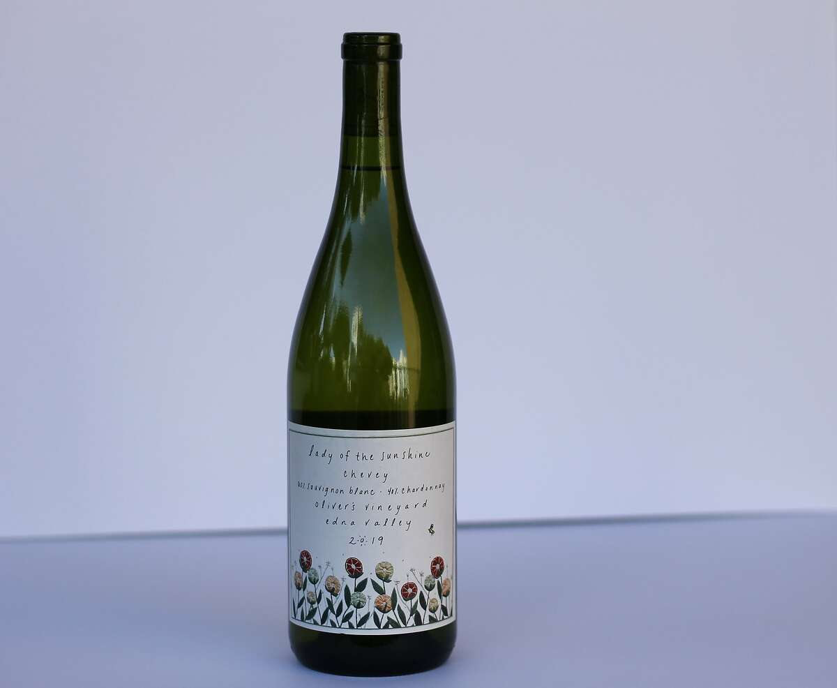 """Lady of the Sunshine's 2019 """"Chevey"""" wine, a blend of Chardonnay and Sauvignon Blanc from the Edna Valley in California's Central Coast."""