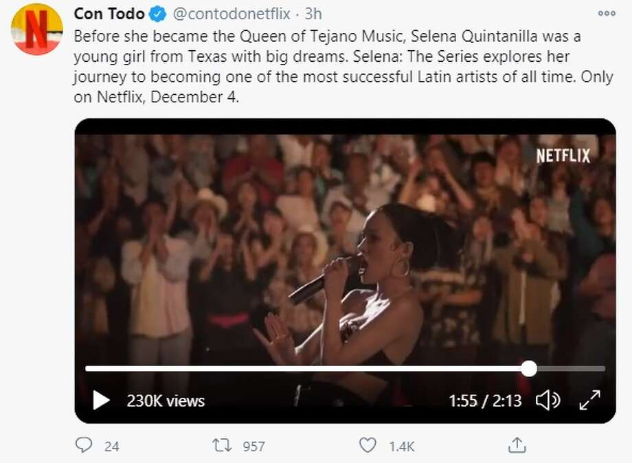 """Netflix and Con Todo, which is the company's social media company dedicated to the Latino community, debuted a two-minute trailer of the """"Selena: The Series"""" on Monday. Photo: Twitter Screenshot"""