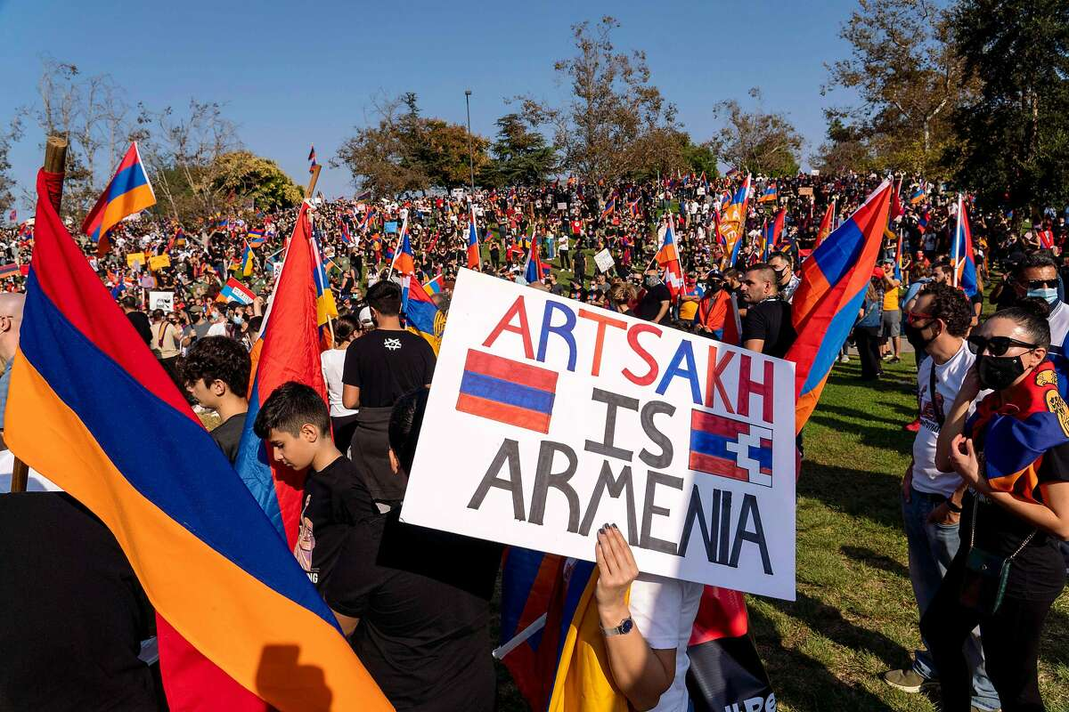 People march from Pan Pacific Park in Los Angeles to the Consulate General of Turkey, during an Oct. 11 protest in support of Armenia and Karabakh amid the territorial dispute with Azerbaijan over Nagorno-Karabakh.