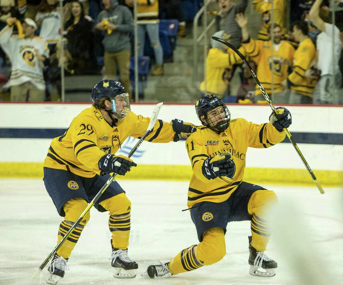Wyatt Bongiovanni (11) and Odeen Tufto (29) are back to lead the Quinnipiac men's hockey program. They are the top two scorers on a team ranked 13th in the USCHO preseason poll.