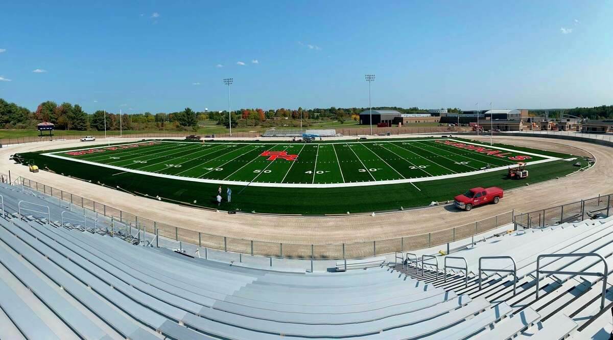 Construction on the Big Rapids High School stadium is nearing completion. The project was originally scheduled to be completed in October, but was pushed back due to poor weather and a back order on supplies caused by COVID-19. (Courtesy photo)