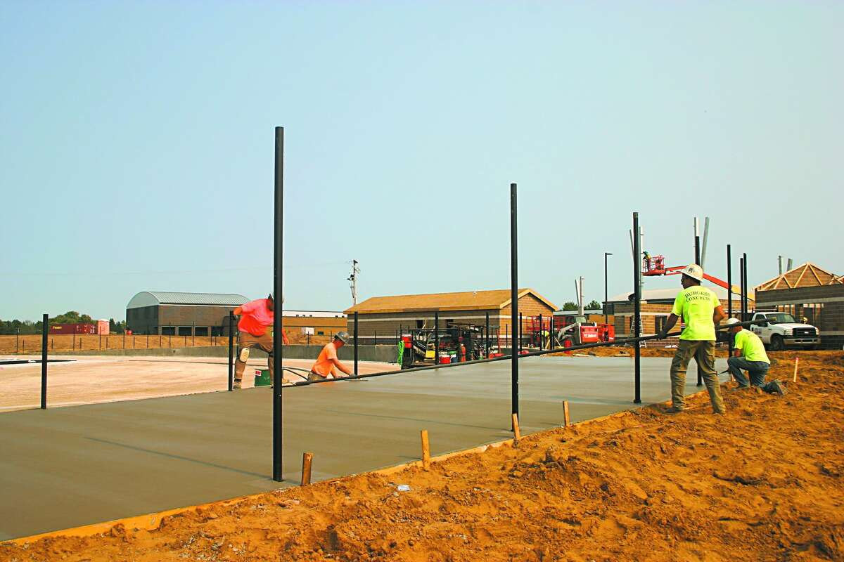 In this Sept. 15, 2020 file photo, construction gets started on the Big Rapids High School football stadium and track.