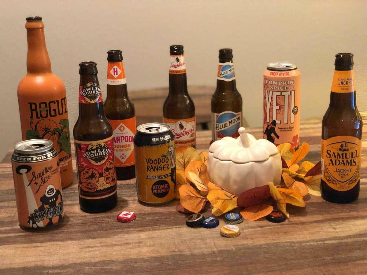 Nine of the 10 beers we tasted.