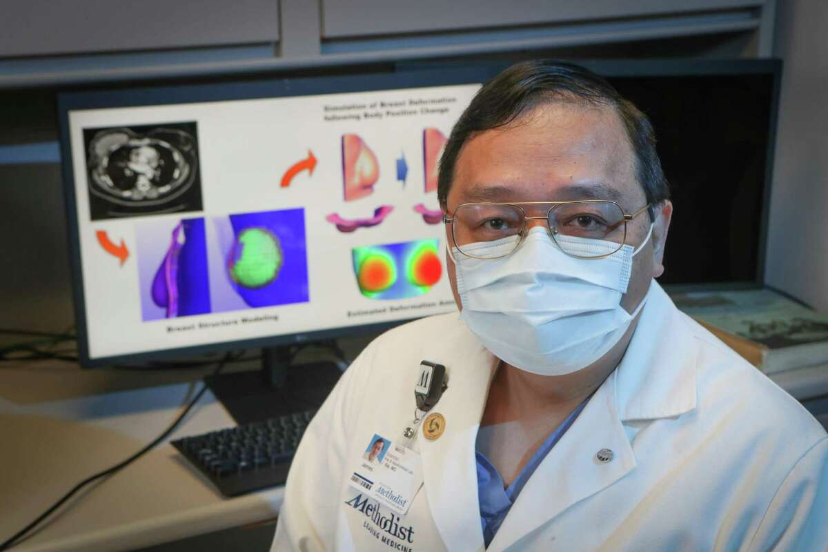 Dr. James J. Xia M.D. Ph.D.,M.S. is a facial reconstruction surgeon researching how to use 3D technology to design customizable breast implants for patients at Houston Methodist Friday, Oct. 23, 2020, in Houston.
