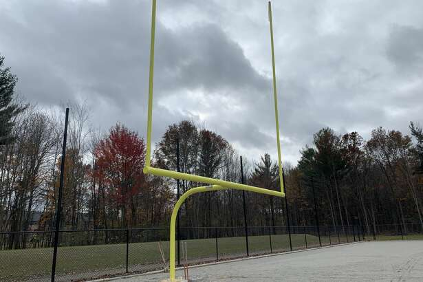 Progress has continued on the construction of a new turf field at Dow High. Goal posts have been erected, and the field now awaits the installation of the artificial turf surface, which is expected to be completed sometime in November.