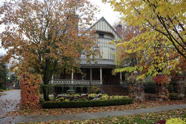 A view of the Brackett house on North Broadway on Monday, Oct. 26, 2020, in Saratoga Springs, N.Y. The home, owned by Quad/Graphics, is up for sale. (Paul Buckowski/Times Union)
