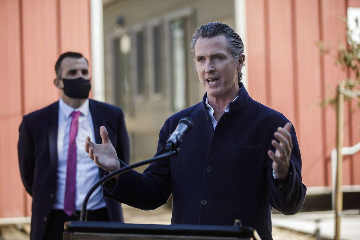 """California Gov. Gavin Newsom speaks during the grand opening of an emergency interim housing community site on Monterey Road on Friday. Newsom has said the death penalty """"is inconsistent with our bedrock values and strikes at the very heart of what it means to be a Californian."""""""